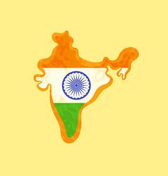 India - map colored with indian flag vector