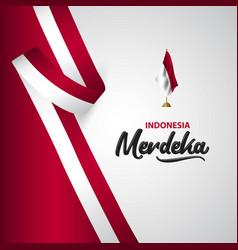Indonesia merdeka flag template design vector