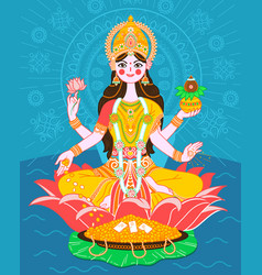 Lakshmi on a lotus in a flat style vector