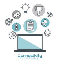 Laptop computer with connectivity 5g tech vector