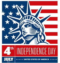 liberty statue head - independence day usa vector image