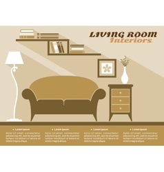 Living room interior flat style vector