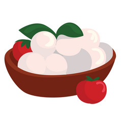 Mozzarella cheese on white background vector