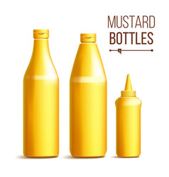 mustard bottle set 3d realistic blank vector image