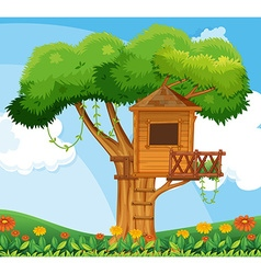 Nature scene with treehouse in the garden vector