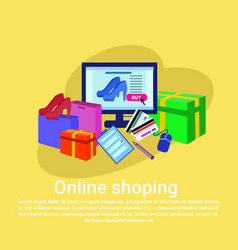 Online shopping baner concept with computer vector