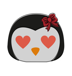 Penguin with heart eyes cute animal cartoon ico vector