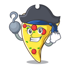 Pirate pizza slice character cartoon vector
