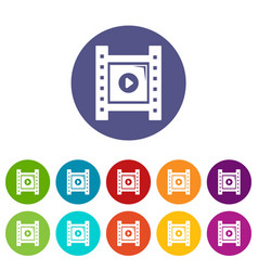 play film strip icons set color vector image