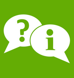 question and exclamation speech bubbles icon green vector image