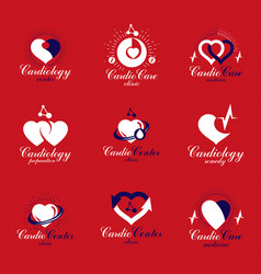 Red heart shapes made using ecg charts and caring vector