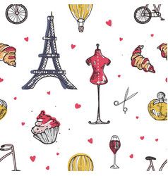seamless pattern with paris and france elements vector image