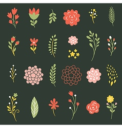 set of flowers on black background vector image