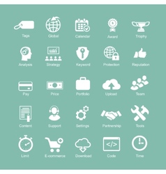 set silhouetted white seo and internet icons vector image