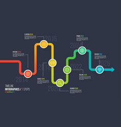 seven steps timeline or milestone infographic vector image