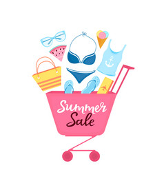 shopping trolley with beach items and accessories vector image