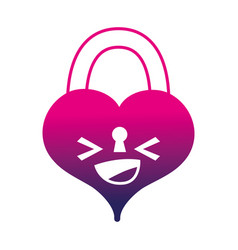 Silhouette happy heart padlock kawaii personage vector