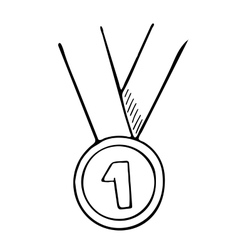 Simple hand drawn doodle of a medal vector image