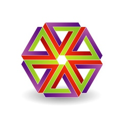 Six penrose triangles shaped like star vector