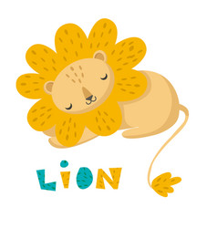sleeping cute kawaii cartoon funny lion vector image