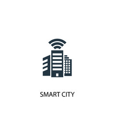 smart city icon simple element vector image
