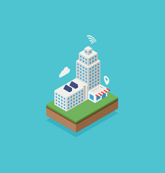 smart city with internet network connection vector image