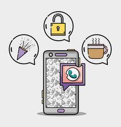 Smartphone with chat bubble message icons vector