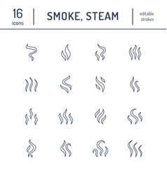 Smoke steam flat line icons fumes shapes aroma vector