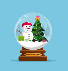 Snow globe and christmas tree with balls and vector