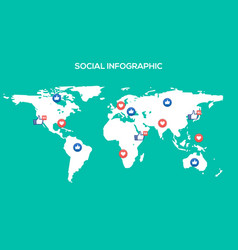 Social media map internet community vector