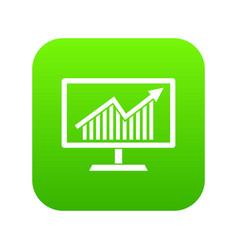 statistics on monitor icon digital green vector image