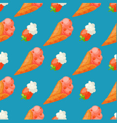 sweet ice cream seamless pattern background vector image