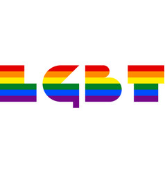 The abbreviation lgbt created by the lgbt font vector