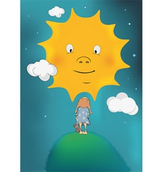 The girl and the sun vector