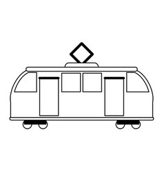 Train on rails sideview isolated black and white vector