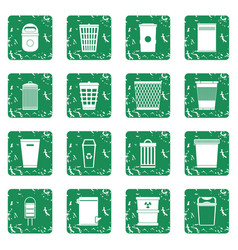 Trash can icons set grunge vector