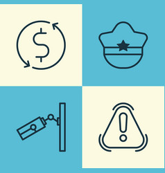 travel icons set collection of siren pilot hat vector image