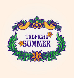 tropical summer frame leaf vector image