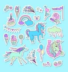 Unicorn multicolor stickers with unicorn cloud vector