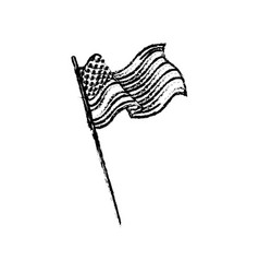 united states of america flag waving sketch vector image
