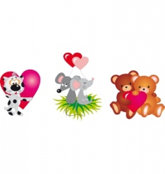 valentines day animals vector collection vector image vector image