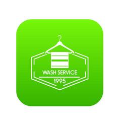 Wash service icon green vector