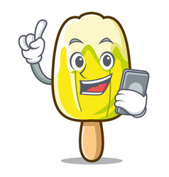 With phone lemon ice cream character cartoon vector