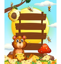 Wooden signs with bear and bees vector