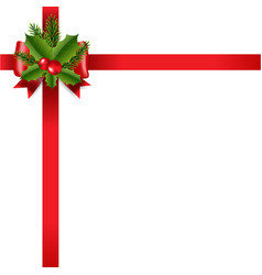 xmas red ribbon bow white background vector image