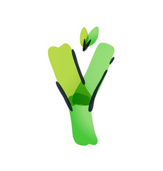 Y letter ecology logo with green leaves vector