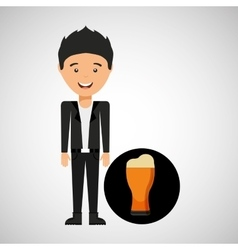 young boy fathers day celebration beer vector image