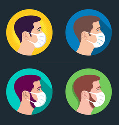young male icon with face mask vector image