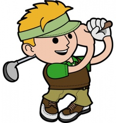 young man playing golf vector image