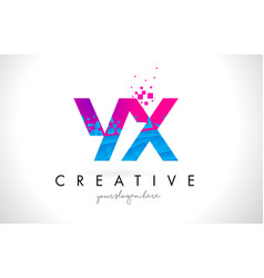 Yx y x letter logo with shattered broken blue vector